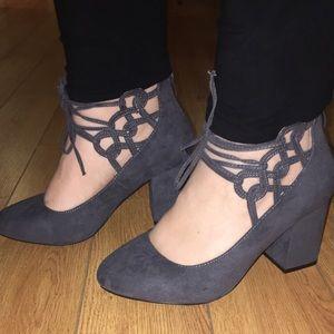 10 WIDE Torrid Gray Strappy Block Heels